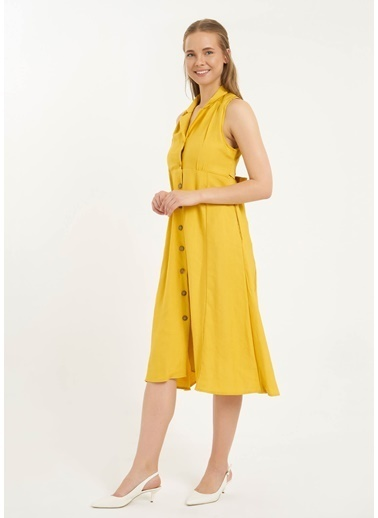Tiffany&Tomato Ceket Yaka Sırt Dekolteli Kuşaklı Midi Keten Elbise-Hardal Hardal